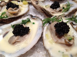 Black River Caviar with Warm Oysters and Creamed Leeks