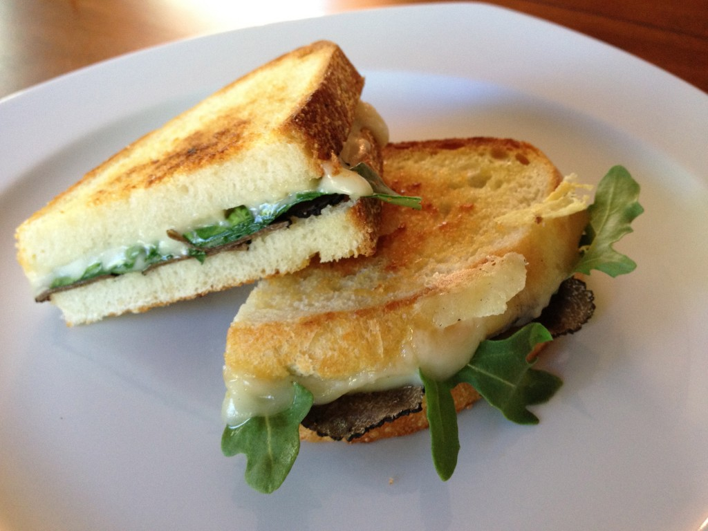 Grilled Cheese with Truffle Oil, Arugula and Summer Truffles