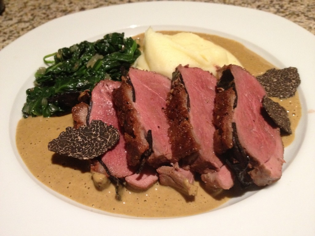 truffled duck breasts with black truffle foie gras sauce